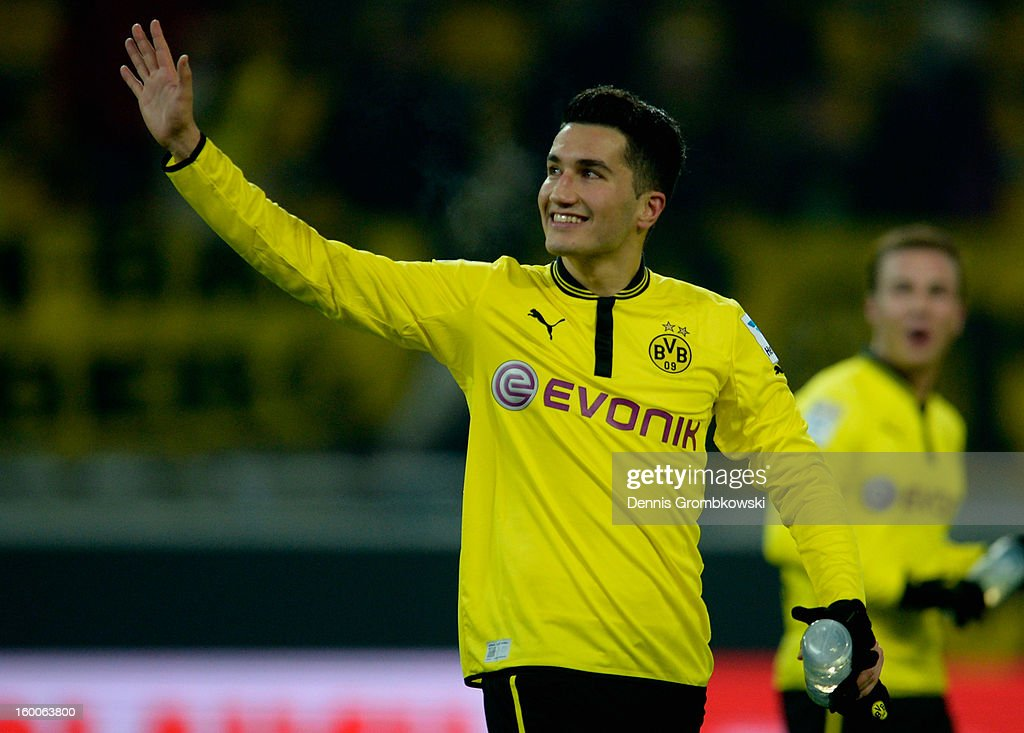 <a gi-track='captionPersonalityLinkClicked' href=/galleries/search?phrase=Nuri+Sahin&family=editorial&specificpeople=609186 ng-click='$event.stopPropagation()'>Nuri Sahin</a> of Dortmund celebrates after the Bundesliga match between Borussia Dortmund and 1. FC Nuernberg at Signal Iduna Park on January 25, 2013 in Dortmund, Germany.