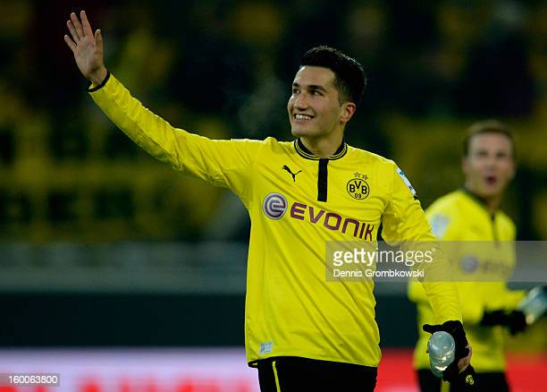 Nuri Sahin of Dortmund celebrates after the Bundesliga match between Borussia Dortmund and 1 FC Nuernberg at Signal Iduna Park on January 25 2013 in...