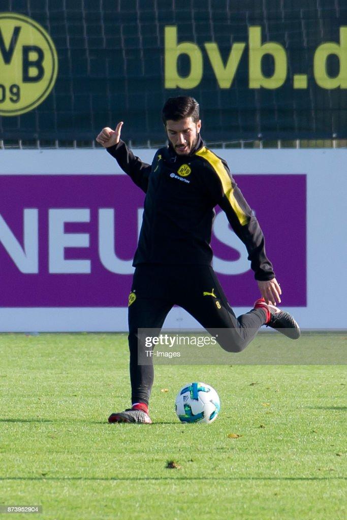 Nuri Sahin of Dortmund controls the ball during a training session at BVB trainings center on November 5, 2017 in Dortmund.
