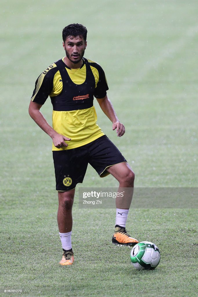Nuri Sahin of Dortmund in action during training session ahead of the 2017 International Champions Cup football match between AC Milan and Borussia Dortmund at University Town Sports Centre Stadium on July 17, 2017 in Guangzhou, China.