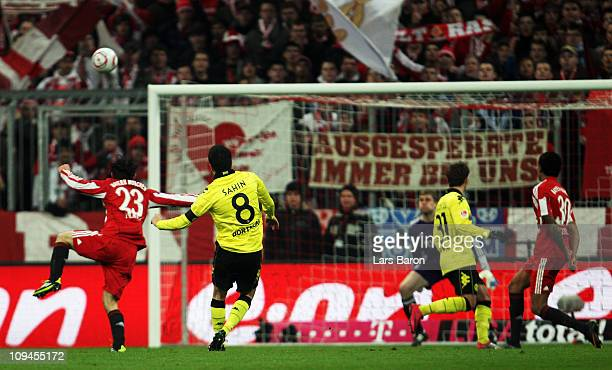 Nuri Sahin of Dortmund scores his teams second goal during the Bundesliga match between FC Bayern Muenchen and Borussia Dortmund at Allianz Arena on...
