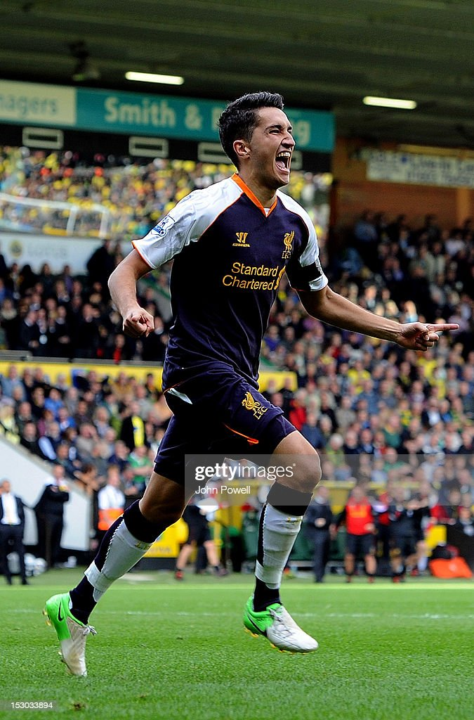 Nuri Sahin of Liverpool celebrates after scoring during the Barclays Premier League match between Norwich City and Liverpool at Carrow Road on September 29, 2012 in Norwich, England.