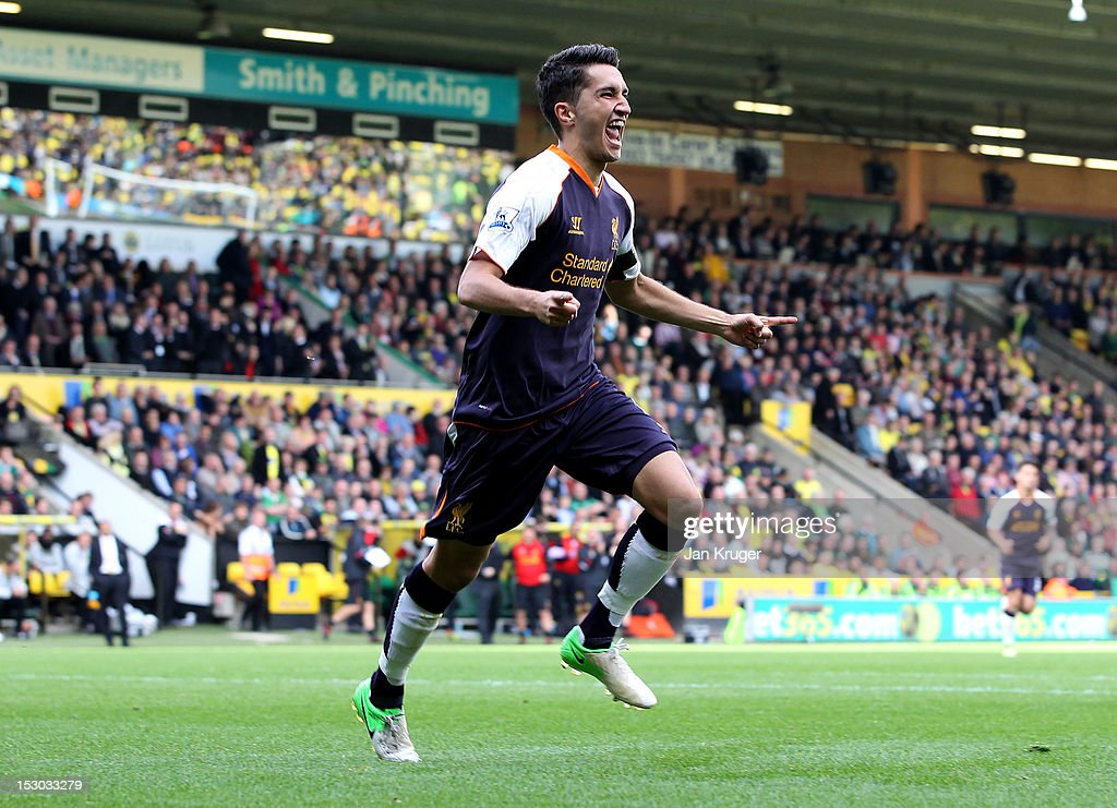 Nuri Sahin of Liverpool celebrates his goal during the Barclays Premier League match between Norwich City and Liverpool at Carrow Road on September 29, 2012 in Norwich, England.