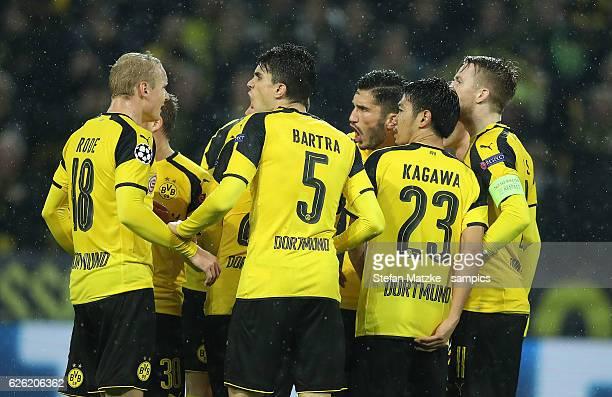Nuri Sahin Shinji Kagawa Marco Reus Marc Barta Borussia Dortmund r during Borussia Dortmund and Legia Warszawa at Signal Iduna Park on November 22...