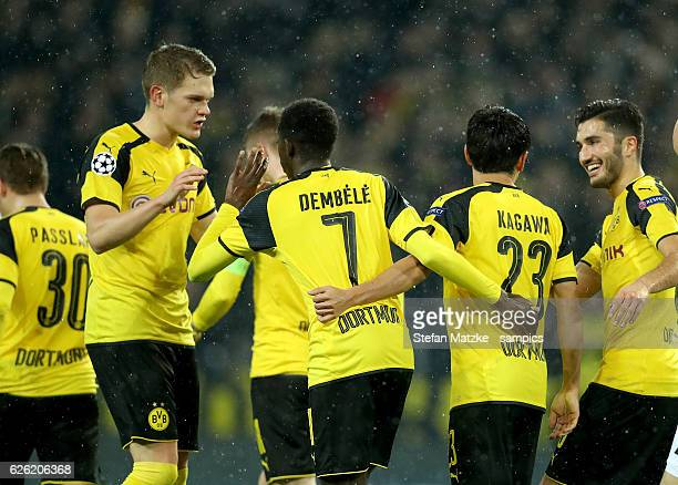 Nuri Sahin Shinji Kagawa Ousmane Dembele Borussia Dortmund Matthias Ginter during Borussia Dortmund and Legia Warszawa at Signal Iduna Park on...