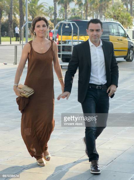 Nuria Cunillera and Xavi Hernandez are seen arriving at the Hotel W on June 17 2017 in Barcelona Spain