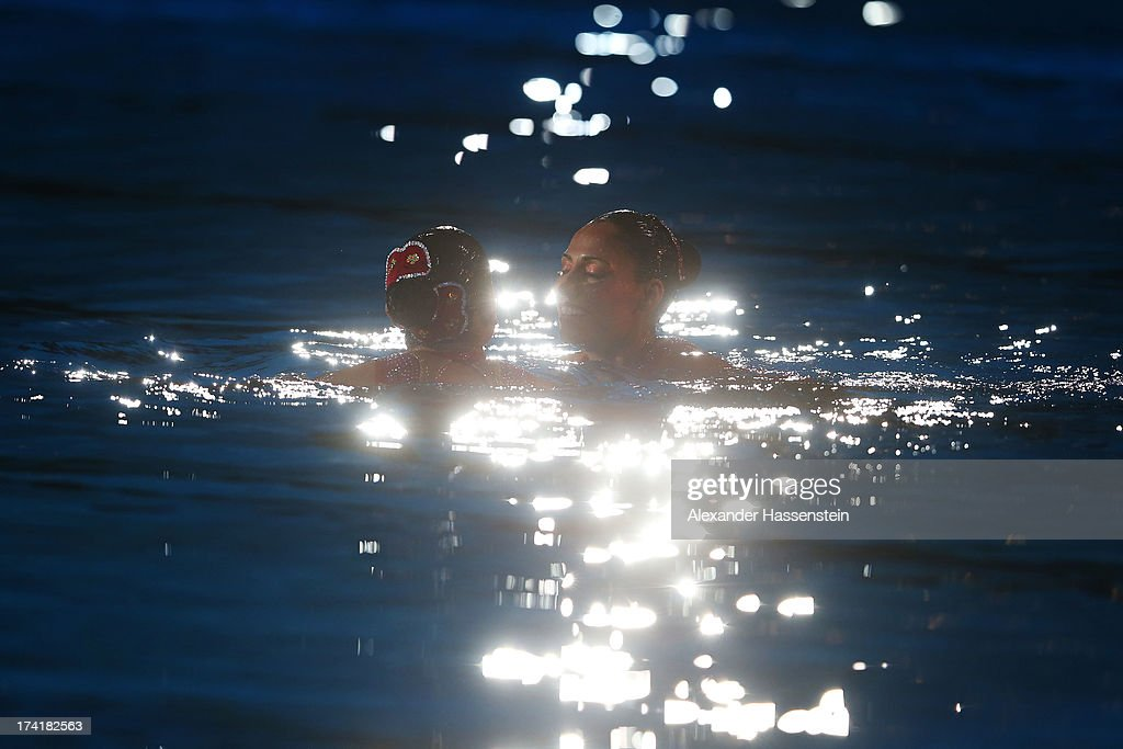Nuria Diosdado Garcia and Isabel Delgado Plancarte of Mexico compete in the Synchronized Swimming Duet Technical final on day two of the 15th FINA World Championships at Palau Sant Jordi on July 21, 2013 in Barcelona, Spain.