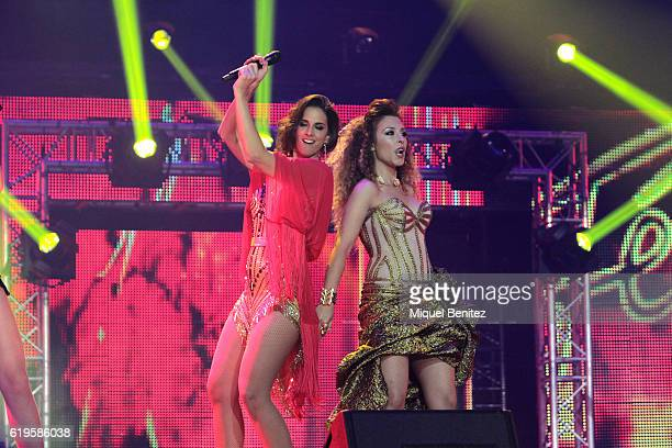 Nuria Fergo and Gisela Llado perform on stage 'Operacion Triunfo El Reencuentro' Concert at Palau de Sant Jordi on October 31 2016 in Barcelona Spain