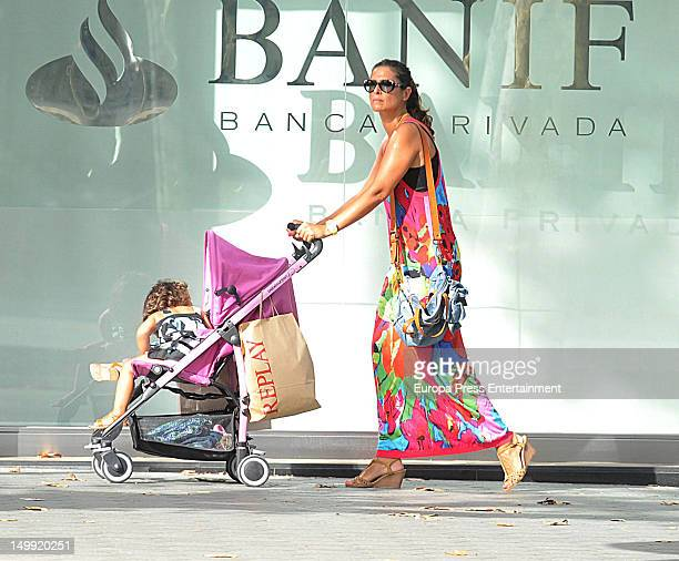 Nuria Roca is seen with her child on July 28 2012 in Barcelona Spain