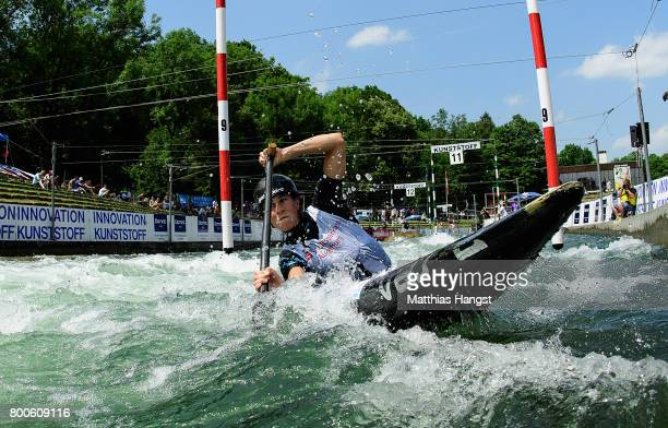 Nuria Vilarrubla of Spain competes during the Canoe Single Women's Final of the ICF Canoe Slalom World Cup on June 24 2017 in Augsburg Germany
