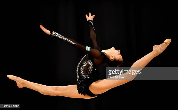 Nurinisso Usmanova of Uzbekistan competes in the Womens Ribbon Qualification during day two of Baku 2017 4th Islamic Solidarity Games at the National...