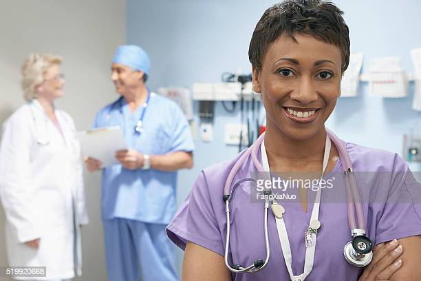Nurse and doctors in a hospital