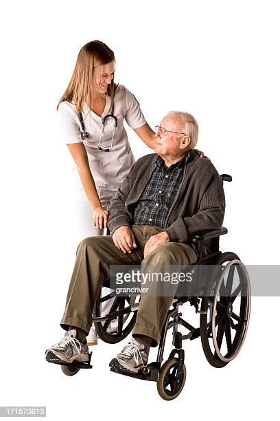 Nurse and Elderly Man with Wheelchair
