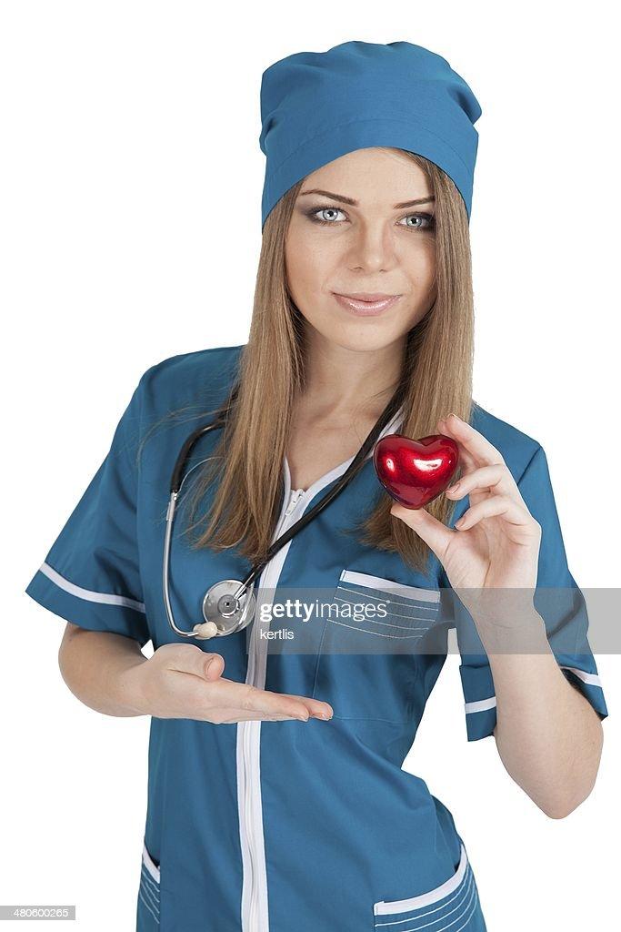nurse and heart : Stock Photo