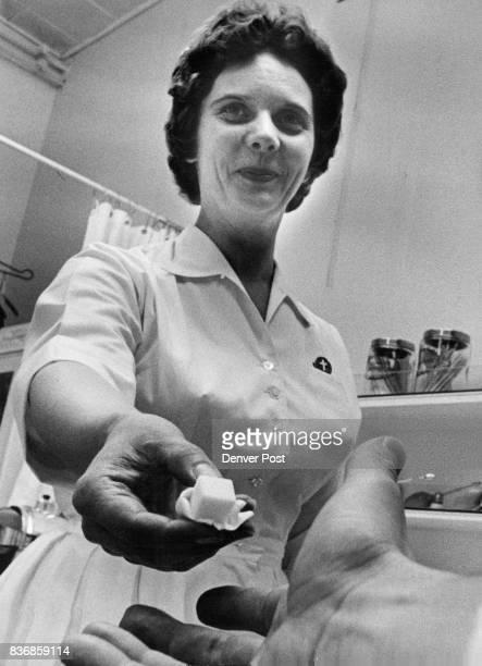 Nurse Nina Koogle Hands out Sugar Cube It Contains two drops of Sabin Oral Polio Vaccine Credit Denver Post