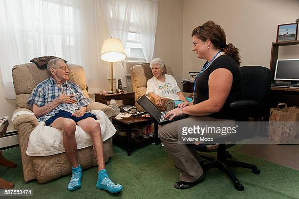 Nurse practitioner Jessica Giuseppi on a home visit to Robert Narky and his wife Mary Narky 85 The program called Independence at Home is part of the...