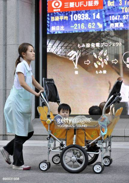 A nurse pushes a pram before a share prices board in Tokyo on October 3 2008 Japanese share prices fell 21662 points to close at 1093814 points at...