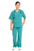 Nurse or young doctor standing smiling isolated on white background in full body. xwoman medical professional in green scrubs smiling happy. Mixed race ethnic Chinese Asian and Caucasian female model.