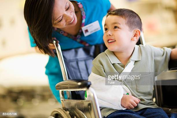 Nurse Talking with Injured Boy