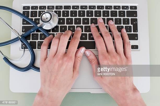 Nurse using a laptop computer