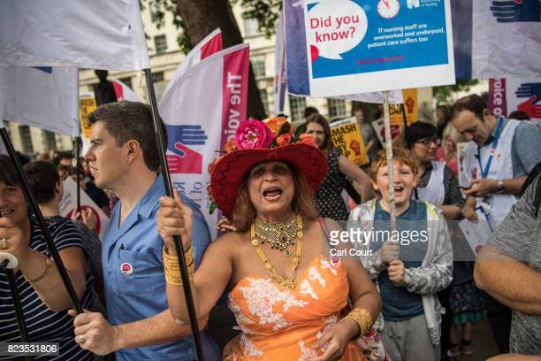 Nurses and supporters stage a protest near Downing Street on July 27 2017 in London England The Royal College of Nursing have launched a series of...