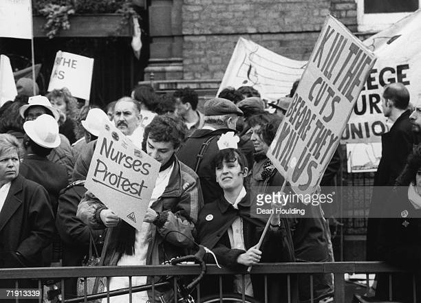 Nurses from the NALGO union protesting outside the London Hospital during the nurses strike February 1988