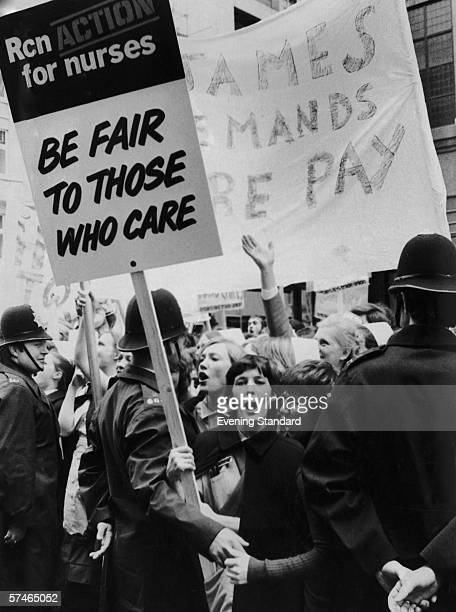 Nurses gather in Cavendish Square London before marching to a rally in Hyde Park to protest at their levels of pay 13th May 1974