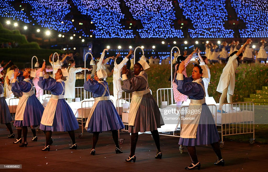 Nurses representing the Great Ormond Street Hospital and the NHS take part in the Opening Ceremony of the London 2012 Olympic Games at the Olympic...