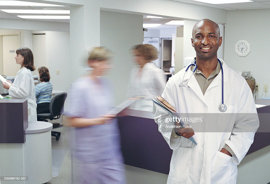 Nurse's station at busy doctor's office (blurred motion)