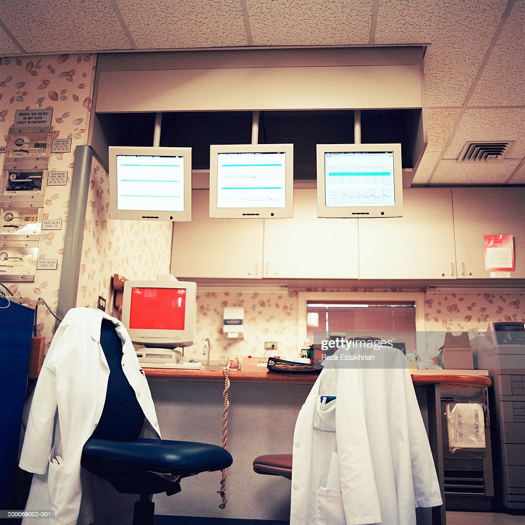 Nurse's station with monitor's showing patient's vital signs