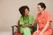 Nurses with smartphone