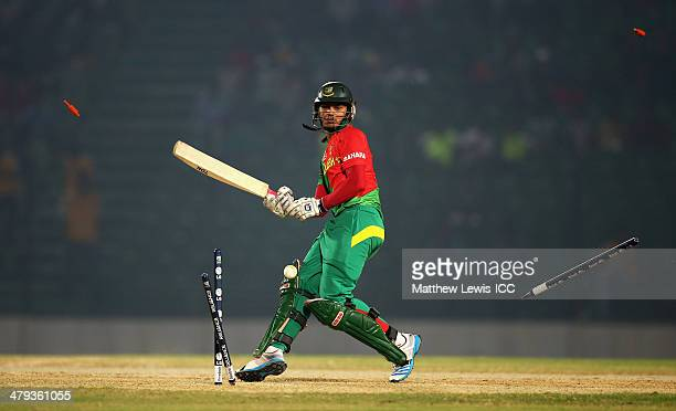 Nurul Hasan of Bangladesh looks on after being bowled by Dale Steyn of South Africa during the ICC World Twenty20 Bangladesh 2014 Warm Up match...