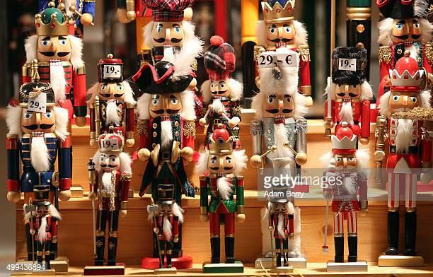 Nutcrackers are seen for sale at a Christmas market on December 1 2015 in Berlin Germany German consumer morale and willingness to spend showed signs...