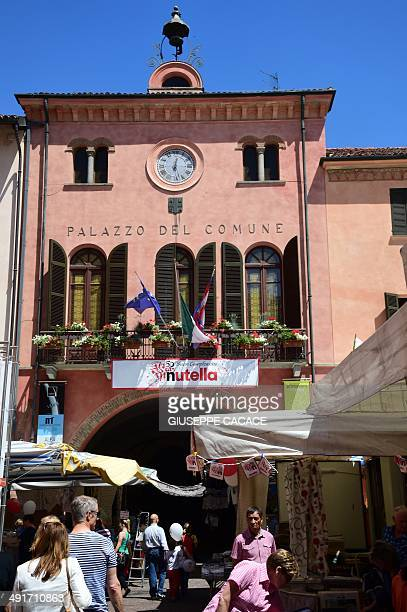A Nutella's banner is hanged on the balcony of Alba's city hall on May 17 2014 during the celebrations of the 50th anniversary of Nutella the...