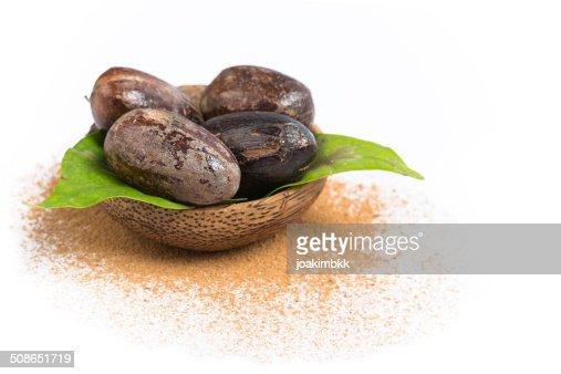 Nutmeg isolated on white : Stock Photo