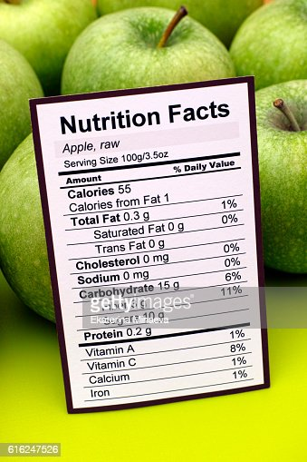 Nutrition facts of green apples : Foto de stock