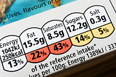 A close-up of the nutrition information label on a food products packaging.