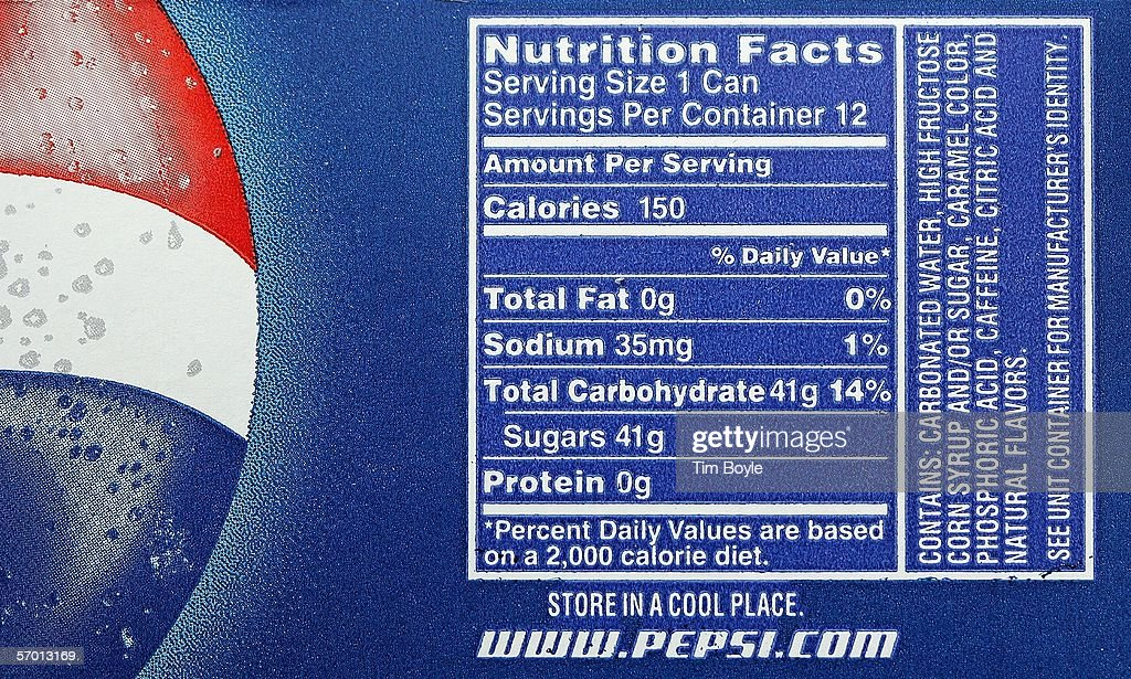 Nutrition information, including sugar content, is seen on a 12-pack of Pepsi at a market March 6, 2006 in Des Plaines, Illinois. A new study reportedly links sugary sodas and drinks to the obesity epidemic.