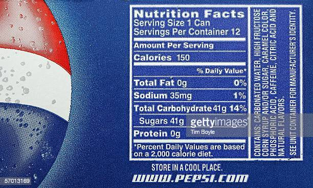Nutrition information including sugar content is seen on a 12pack of Pepsi at a market March 6 2006 in Des Plaines Illinois A new study reportedly...