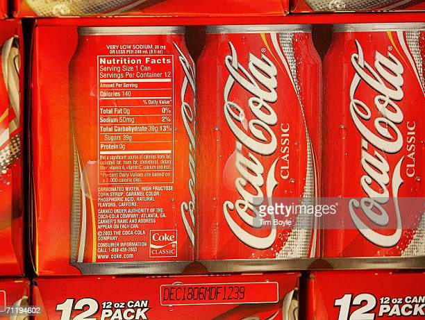 Nutritional information is printed on cartons of CocaCola displayed in a grocery June 13 2006 in Des Plaines Illinois Doctors at the annual American...