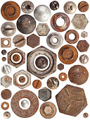 A huge collection of rusty bolts, screws, and nuts on a white background. Excellent for adding texture and extra details to your designs.