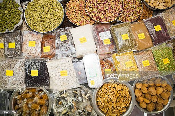 Nuts and spices on a market stall