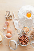 Nuts, eggs, flour and cookie cutters