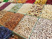 Nuts, raisins, almonds counter market