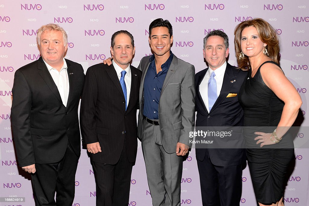 NUVOtv Head of Programming Bill Hillary, CEO of NUVOtv Michael Schwimmer, <a gi-track='captionPersonalityLinkClicked' href=/galleries/search?phrase=Mario+Lopez&family=editorial&specificpeople=235992 ng-click='$event.stopPropagation()'>Mario Lopez</a>, NUVOtv SVP Ad Sales Craig Geller and NUVOtv SVP of Affiliate Sales Judi Lopez backstage at the NUTOtv 2013 Upfront Event at The Edison Ballroom on May 15, 2013 in New York City.