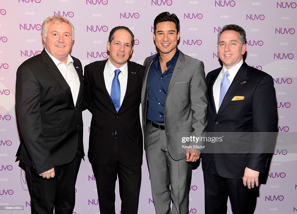 NUVOtv Head of Programming Bill Hillary, CEO of NUVOtv Michael Schwimmer, <a gi-track='captionPersonalityLinkClicked' href=/galleries/search?phrase=Mario+Lopez&family=editorial&specificpeople=235992 ng-click='$event.stopPropagation()'>Mario Lopez</a> and NUVOtv SVP Ad Sales Craig Geller backstage at the NUTOtv 2013 Upfront Event at The Edison Ballroom on May 15, 2013 in New York City.