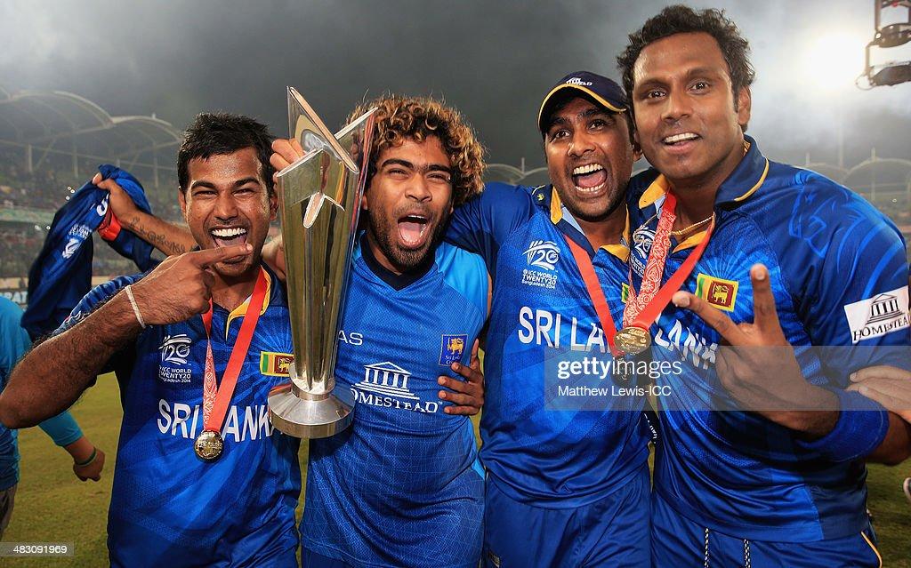 Nuwan Kulasekara Lasith Malinga Mahela Jayawardena and Angelo Mathews of Sri Lanka celebrate winning the World Twenty20 Final against India during...