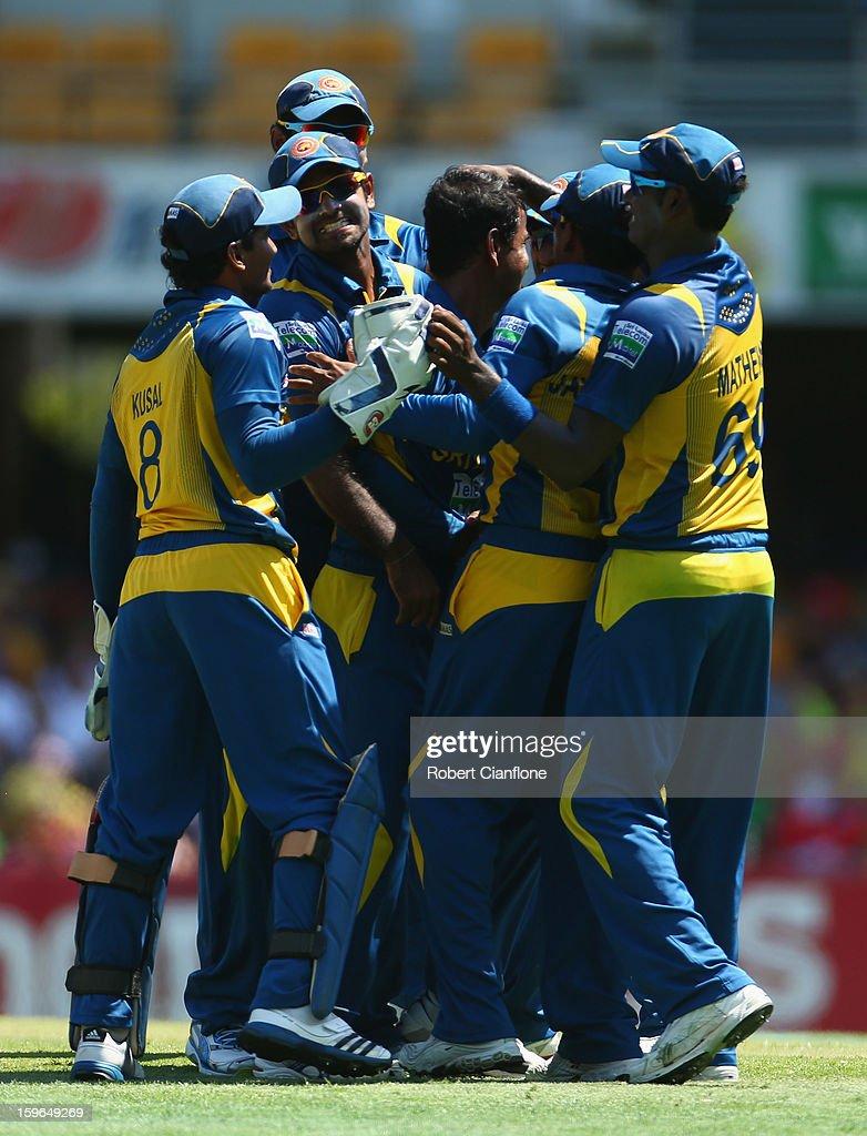 Nuwan Kulasekara of Sri Lanka celebrates taking the wicket of George Bailey of Australia during game three of the Commonwealth Bank One Day International Series between Australia and Sri Lanka at The Gabba on January 18, 2013 in Brisbane, Australia.