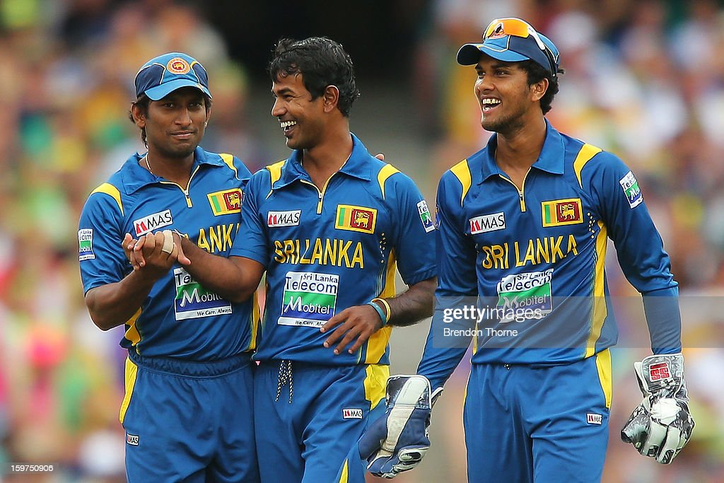 Nuwan Kulasekara of Sri Lanka celebrates with team mates after claiming the wicket of Clint McKay of Australia during game four of the Commonwealth Bank one day international series between Australia and Sri Lanka at Sydney Cricket Ground on January 20, 2013 in Sydney, Australia.