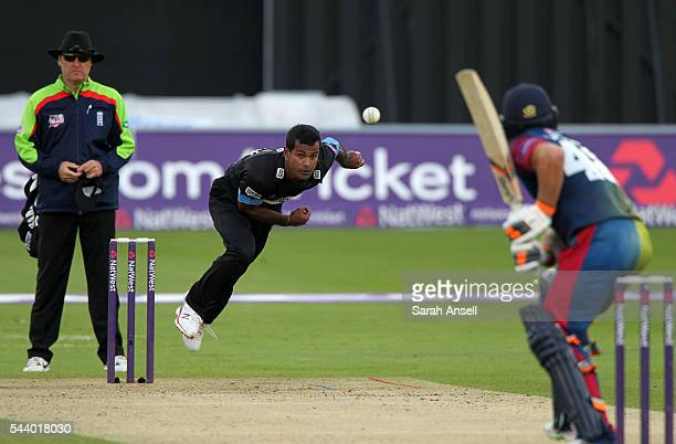 Nuwan Kulasekara of Sussex bowls to Kent's Tom Latham during the NatWest T20 Blast match between Kent and Sussex at The Spitfire Ground on June 30...